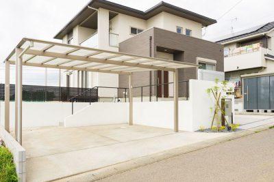 茨城県神栖市 【白い塗り壁を基調としたシンプルモダン外構】